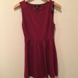 Forever 21 maroon cotton tank top skater dress